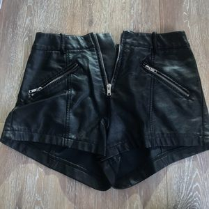 Faux leather shorts.